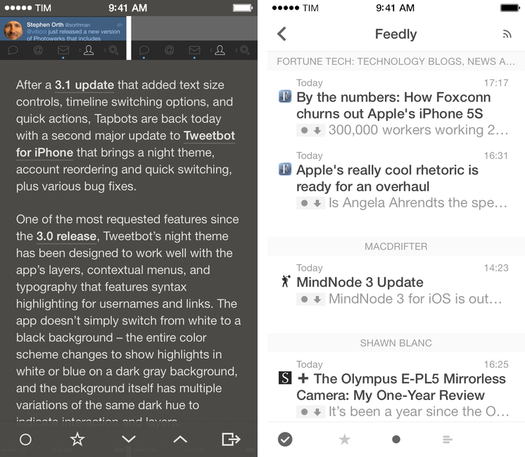 Reeder 2.1 Released with Themes, Reading List Support, Fixes